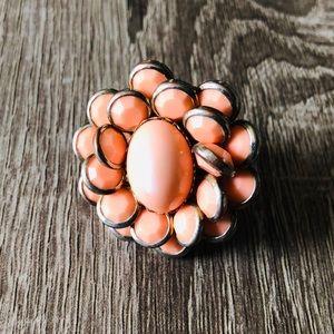 Jewelry - Oversized statement ring 🌸 peach pink flower